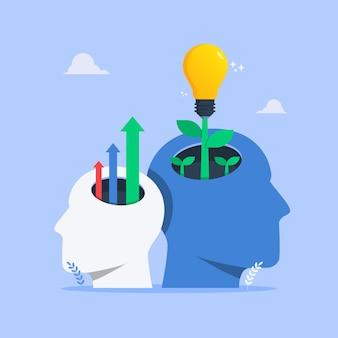Myślenie rośnie koncepcja z ludzką głową symbol ilustracji.