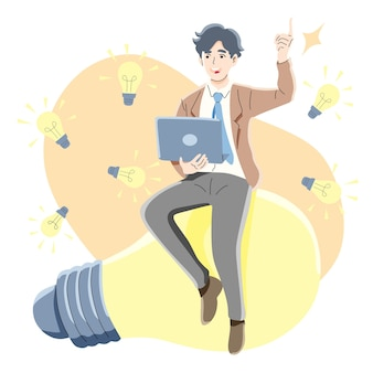 Myślenie, wyszukiwanie, pomysł, koncepcja sukcesu biznesowego