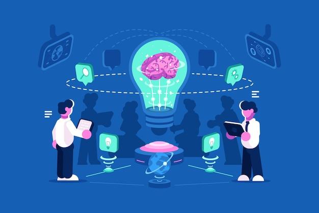 Myślenie zespołowe ludzi biznesu i burza mózgów