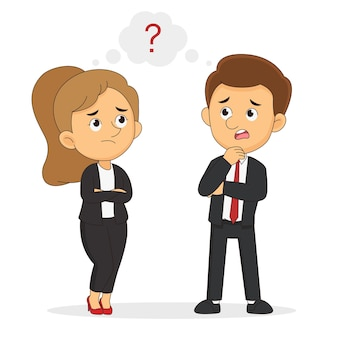 Myśli biznesmen i bizneswoman lub menedżerowie. znak zapytania w dymku
