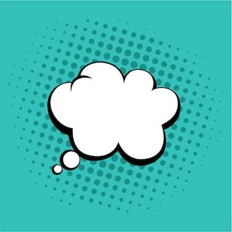 Myśli bubble in pop art comics style tosca green color vector template