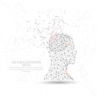 Myśliciel człowiek głowa i mózg cyfrowo rysowane low poly trójkąt drutu ramki.