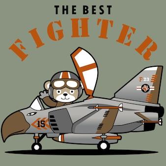 Myśliwiec odrzutowy z uroczym pilotem, kreskówka