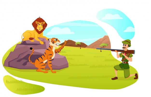 Myśliwy mężczyzna w mundurze wojskowym, trzymając broń, dążąc do lwa