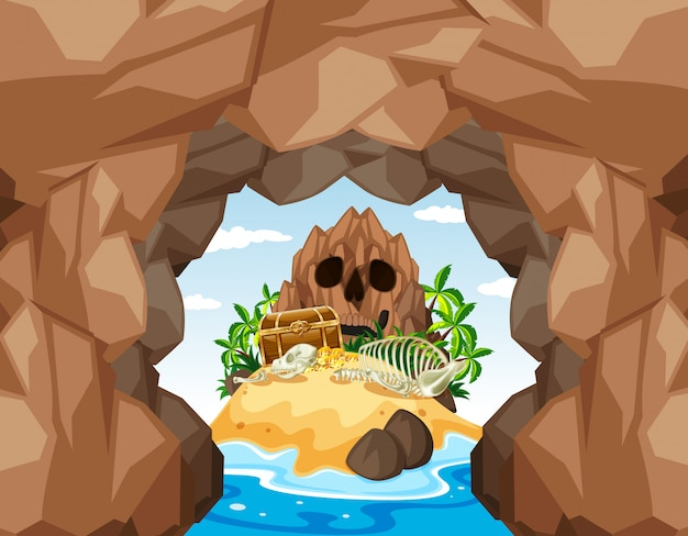 Mystery pirate treasure island and cave