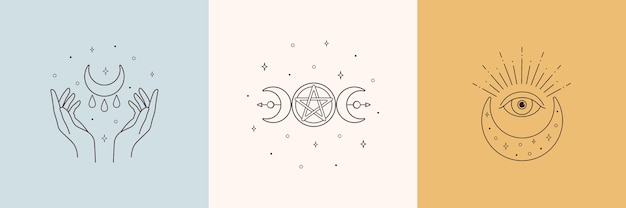 Mystic boho logo design elements with moon hands star eye
