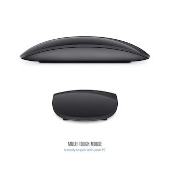 Mysz do komputera czarny kolor widok z boku i powrót na białym tle. zbiory ilustracji