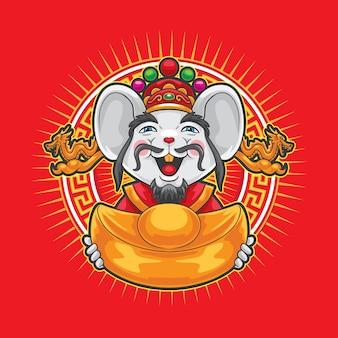 Mysz gong xi fa cai z dużymi złotymi pieniędzmi.