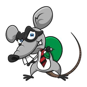 Mysz używająca maski jako złodzieja, kradnąca pieniądze na kreskówce z worka