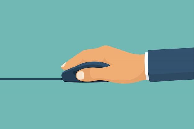 Mysz w rękach. naciśnij klawisz, kursor. urządzenie pc.