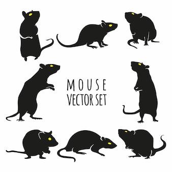 Mysz wektor zestaw ilustracji, zestaw wektor szczur