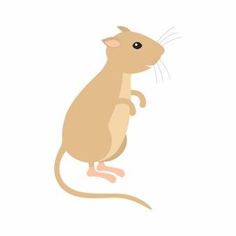 Myszoskoczek siedzący na nogach. ilustracja wektorowa na białym tle.