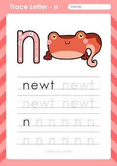N traszka: arkusz śledzenia liter alfabetu az - ćwiczenia dla dzieci