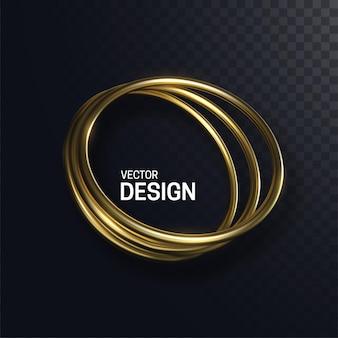 Na białym tle abstrakcyjne kształty złote koło