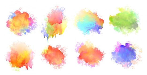Na białym tle akwarela rozpryski plama kolorowy zestaw ośmiu