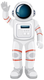 Na białym tle astronauta kreskówka na białym tle