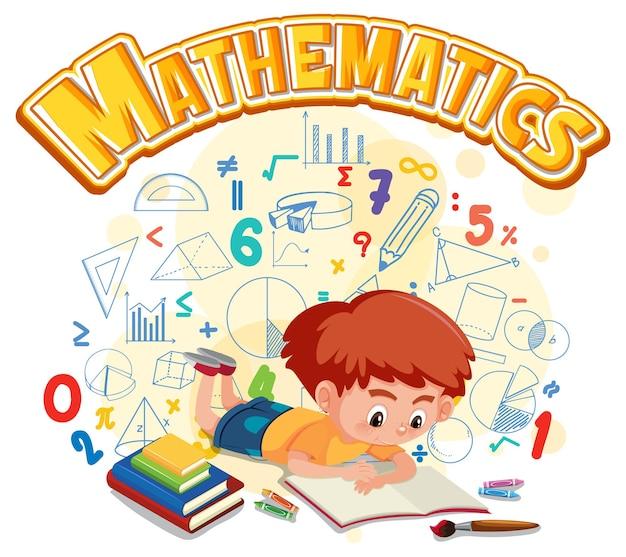 Na białym tle baner z czcionką matematyki z postacią z kreskówki