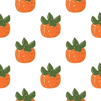 Na białym tle bezszwowe tło żywności z ornamentem dojrzałe persimmon. pomarańczowe owoce na białym tle. doskonały do projektowania tkanin, nadruków tekstylnych, pakowania, okładek. .