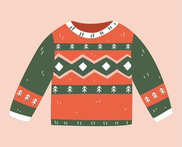 Na białym tle brzydki sweter boże narodzenie na białym tle. śliczny sweter zimowy. płaska ilustracja wektorowa