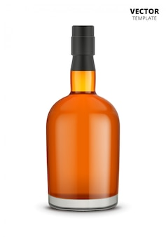 Na białym tle butelka koniaku, whisky lub brandy
