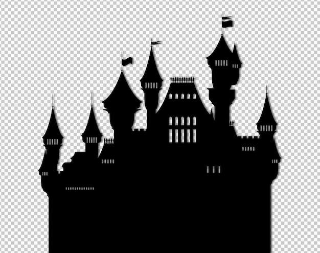 Na białym tle czarny płaski bajkowy zamek