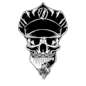 Na białym tle czaszka z wąsami na logo i element marki