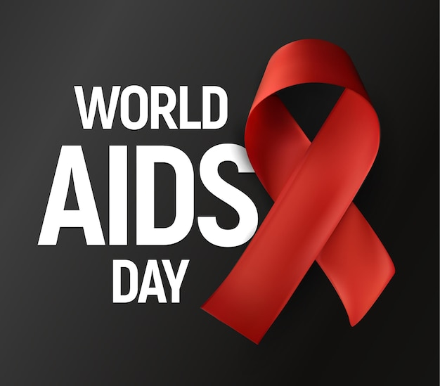 Na białym tle czerwona wstążka z białym tekstem światowy dzień pomocy na szarym tle logo wektor świadomości hiv stop
