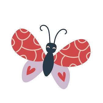 Na białym tle czerwony motyl z sercem na skrzydłach. pastelowe kolory boho. drukuj do wystroju pokoju dziecinnego, odzieży, pokoju, pocztówki, naklejek urocza zabawa