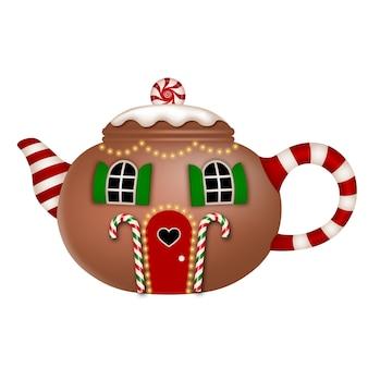 Na białym tle dom w kształcie imbryka z cukierkami świątecznymi