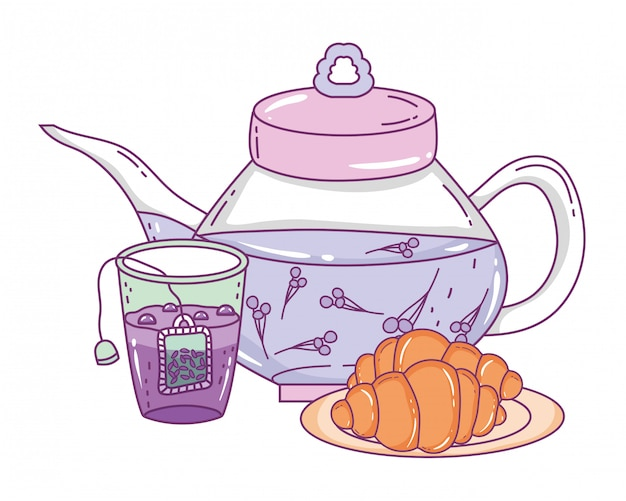 Na białym tle dzbanek do herbaty i chleb