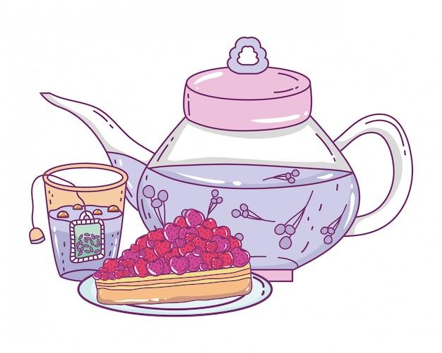 Na białym tle dzbanek do herbaty i ciasto