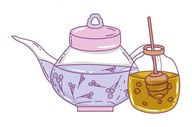 Na białym tle dzbanek do herbaty i słoik miodu