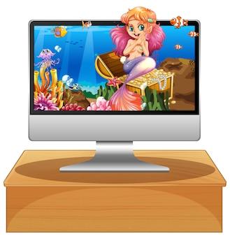 Na białym tle ekran z syreną na morzu