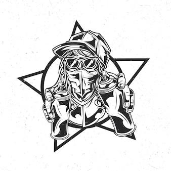 Na białym tle emblemat z ilustracją artysty ulicznego