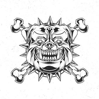 Na białym tle emblemat z ilustracją głowy pitbull