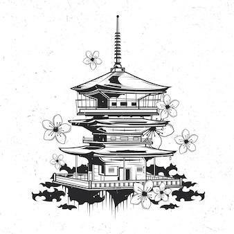 Na białym tle emblemat z ilustracją japońskiej świątyni