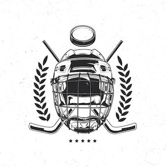 Na białym tle emblemat z ilustracją maski hokejowej, kije hokejowe i krążek
