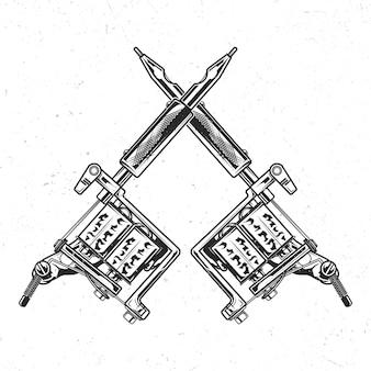 Na białym tle emblemat z ilustracją maszyn do tatuażu