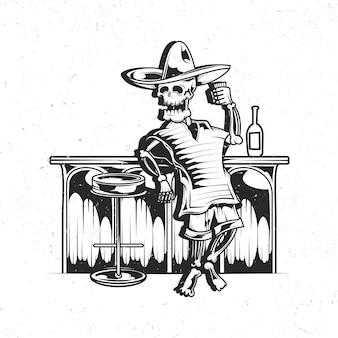 Na białym tle emblemat z ilustracją meksykańskiego pijanego szkieletu