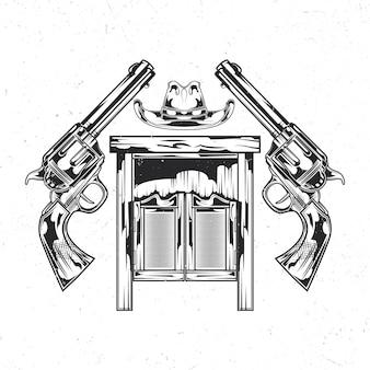 Na białym tle emblemat z ilustracją saloon, kapelusz i pistolety