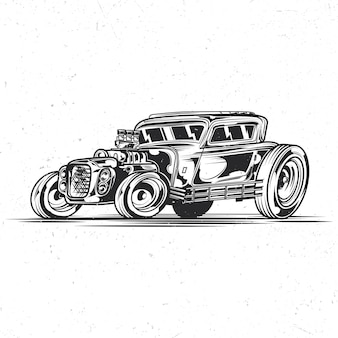 Na białym tle emblemat z ilustracją samochodu hotrod