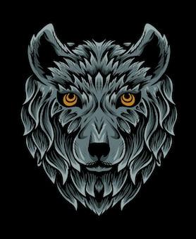 Na białym tle głowa wilka