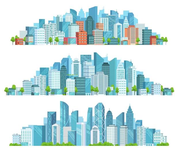 Na białym tle gród. ulica miasta, abstrakcyjny krajobraz miejski i pozioma panorama kreskówka wektor zestaw ilustracji. panoramiczne widoki na centrum miasta, dzielnicę z nowoczesnymi budynkami i drapaczami chmur.
