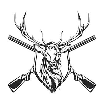Na białym tle ilustracja dwóch karabinów i głowy jelenia