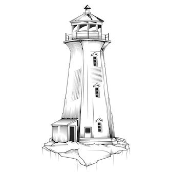 Na białym tle ilustracja starej latarni morskiej