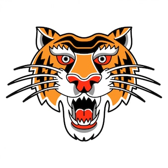 Na białym tle ilustracja z dziką głową tygrysa w stylu retro vintage.