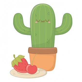 Na białym tle kawaii kreskówka kaktus
