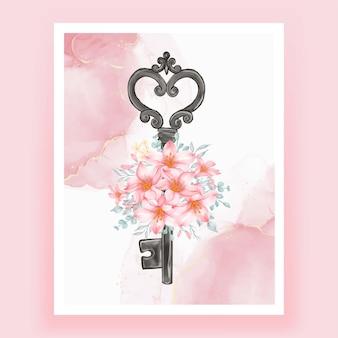 Na białym tle klucz kwiat akwarela ilustracja różowa brzoskwinia
