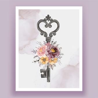 Na białym tle klucz kwiat fioletowy różowy ilustracja akwarela