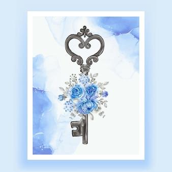 Na białym tle klucz kwiat niebieski ilustracja akwarela